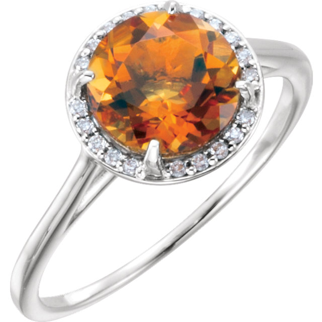 Gorgeous 14 Karat White Gold Citrine and .05Carat Total Weight Diamond Ring