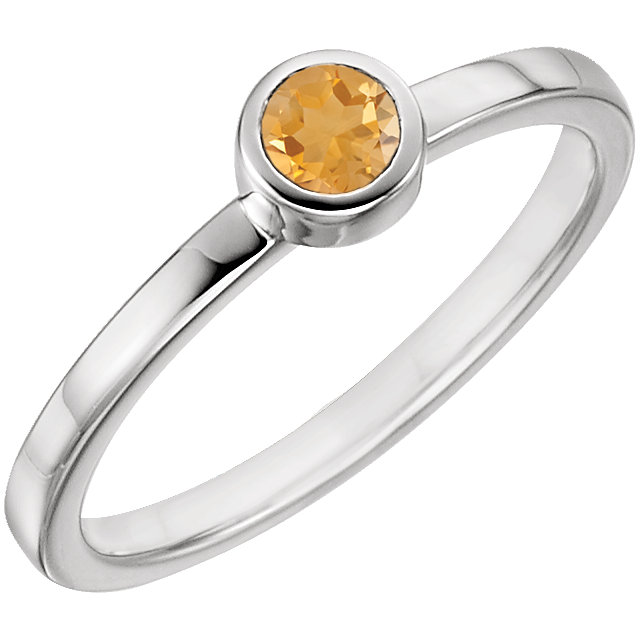 Contemporary 14 Karat White Gold Citrine Ring