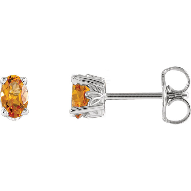 Terrific 14 Karat White Gold Oval Genuine Citrine Earrings