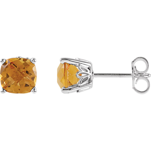 Must See 14 Karat White Gold Citrine Earrings