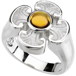 Perfect Gift Idea in 14 Karat White Gold Citrine Maltese Cross Ring