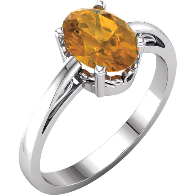 Easy Gift in 14 Karat White Gold Citrine Ring