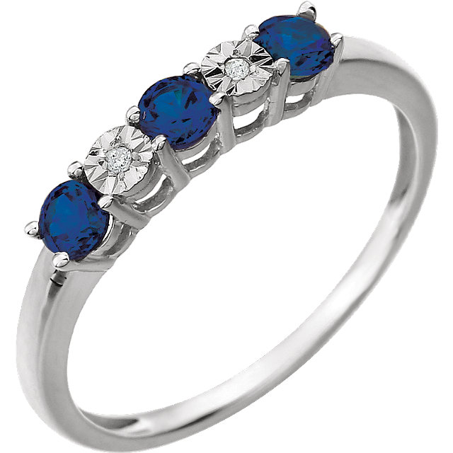 Great Deal in 14 Karat White Gold Created Blue Sapphire & .01 Carat Total Weight Diamond Ring
