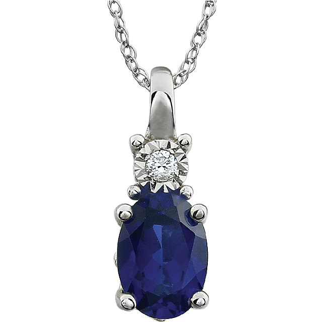 Contemporary 14 Karat White Gold Created Blue Sapphire & .02 Carat Total Weight Diamond 18
