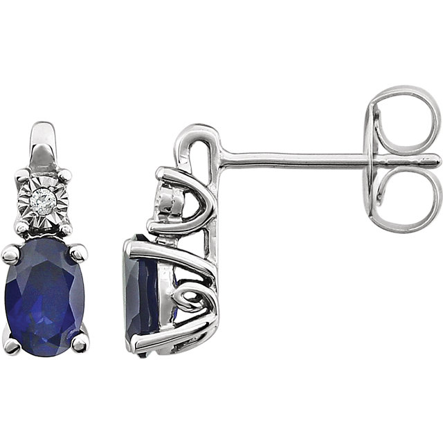 Wonderful 14 Karat White Gold Created Blue Sapphire & .02 Carat Total Weight Diamond Accented Earrings