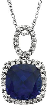 Extraordinary 14 Karat White Gold Created Cushion Genuine Blue Sapphire & .03 Carat Total Weight Diamond 18