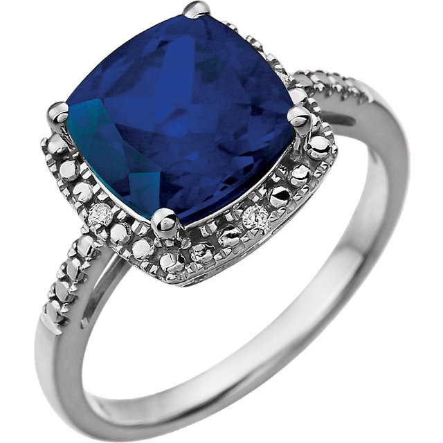 Genuine Chatham Created Sapphire Ring in 14 Karat White Gold Created Genuine Sapphire & .03 Carat Diamond Ring