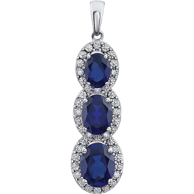 Appealing Jewelry in 14 Karat White Gold Created Blue Sapphire & .04 Carat Total Weight Diamond Three-Stone Pendant