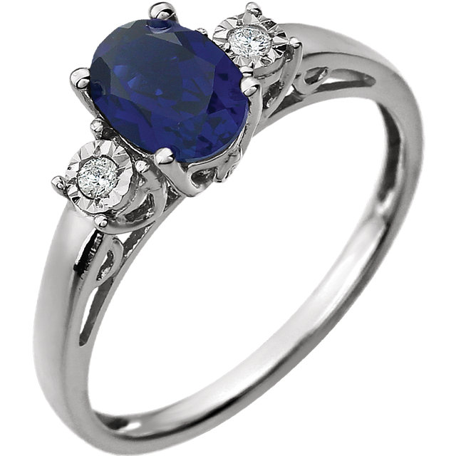 Genuine Chatham Created Sapphire Ring in 14 Karat White Gold Created Genuine Sapphire & .04 Carat Diamond Ring