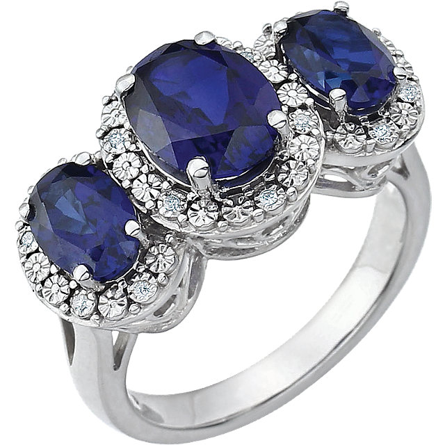 Perfect Jewelry Gift 14 Karat White Gold Created Blue Sapphire & .04 Carat Total Weight Diamond Ring