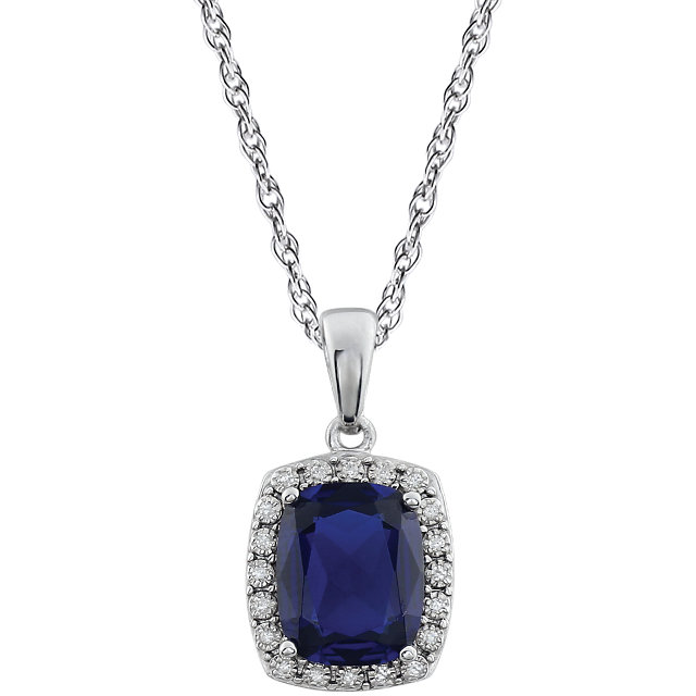 Surprise Her with  14 Karat White Gold Created Blue Sapphire & .05 Carat Total Weight Diamond 18