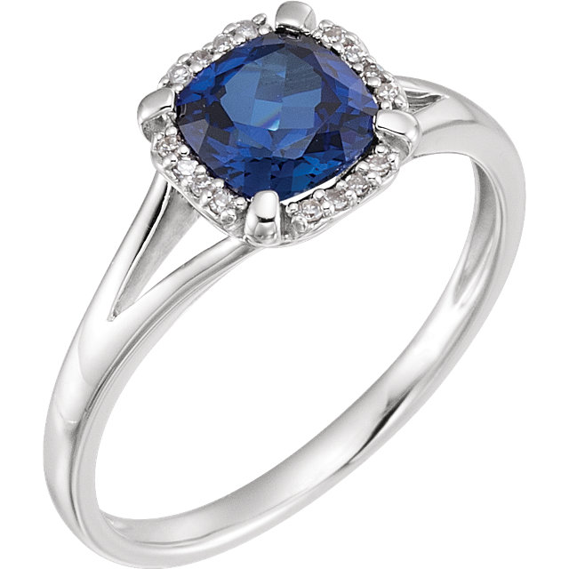 Eye Catchy 14 Karat White Gold Created Blue Sapphire & .05 Carat Total Weight Diamond Ring