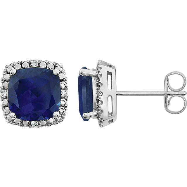 Fine 14 KT White Gold Created Blue Sapphire & .06 Carat TW Diamond Earrings