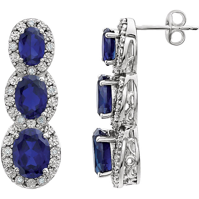 Quality 14 KT White Gold Created Blue Sapphire & .07 Carat TW Diamond 3-Stone Earrings