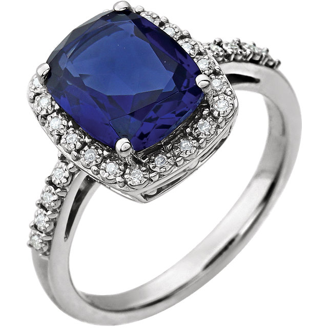 Genuine Chatham Created Sapphire Ring in 14 Karat White Gold Created Cushion Genuine Sapphire & .07 Carat Diamond Ring