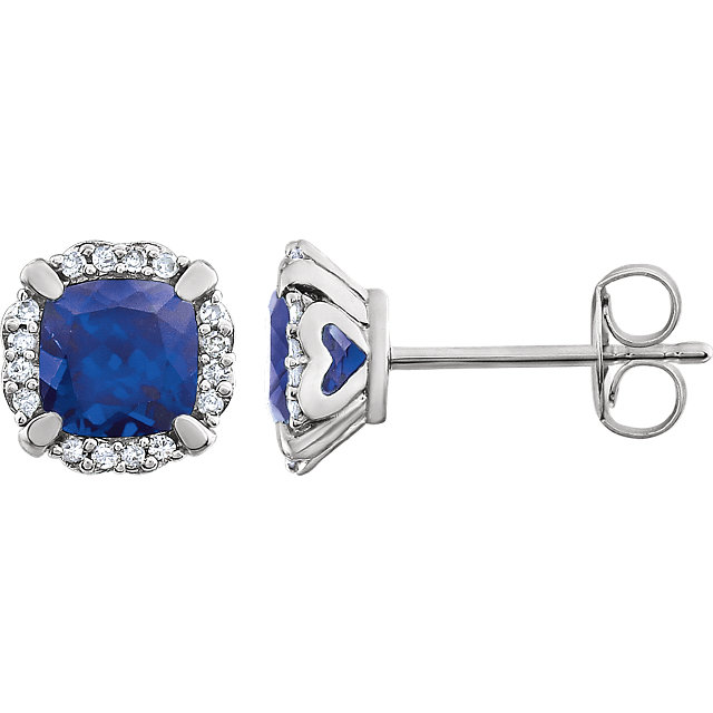 14 Karat White Gold Blue Sapphire & 0.10 Carat Diamond Earrings