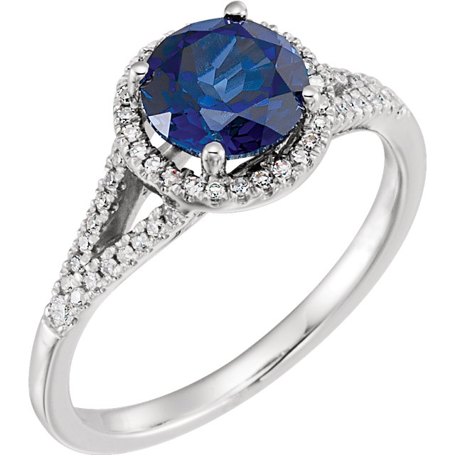 Genuine Chatham Created Sapphire Ring in 14 Karat White Gold Created Genuine Sapphire & 0.17 Carat Diamond Ring
