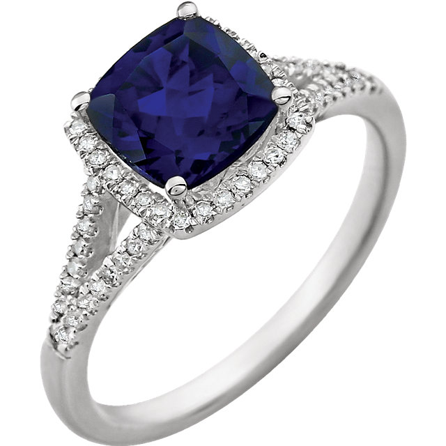 Great Deal in 14 Karat White Gold Created Blue Sapphire & 0.20 Carat Total Weight Diamond Ring