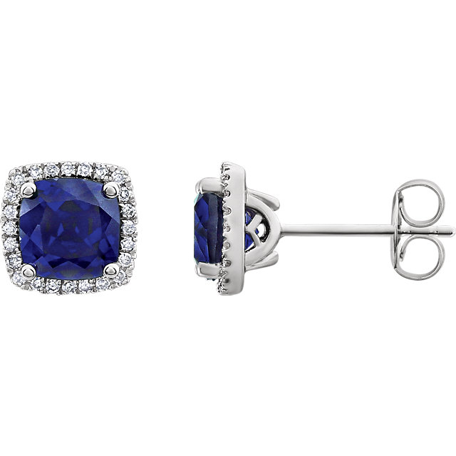Chic 14 Karat White Gold Created Blue Sapphire & 0.12 Carat Total Weight Diamond Earrings