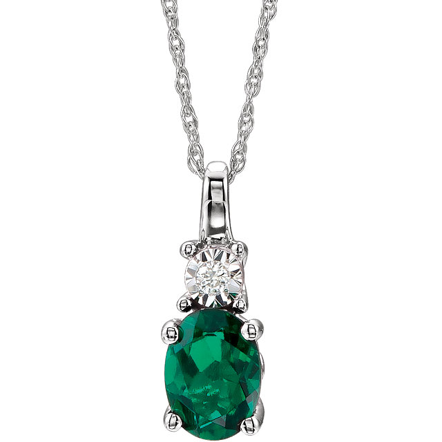 Contemporary 14 Karat White Gold Created Emerald & .02 Carat Total Weight Diamond 18