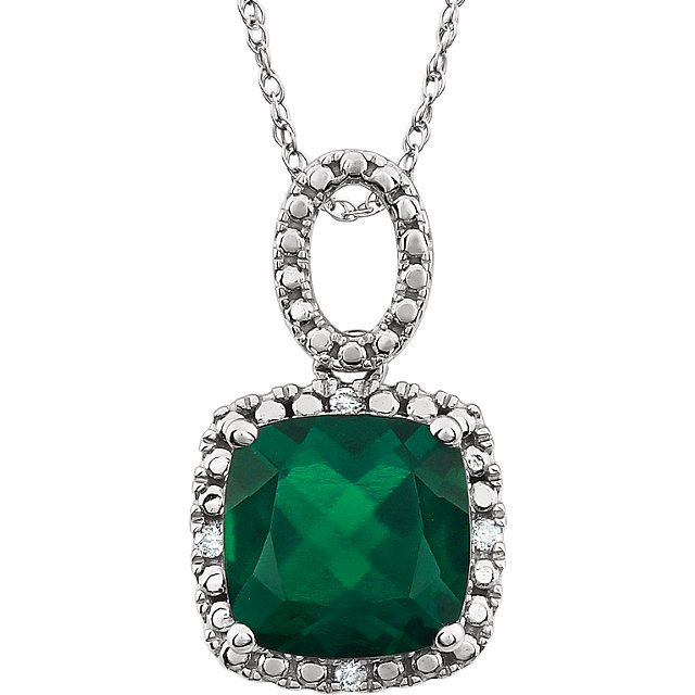 Wonderful 14 Karat White Gold Created Emerald & .03 Carat Total Weight Diamond 18