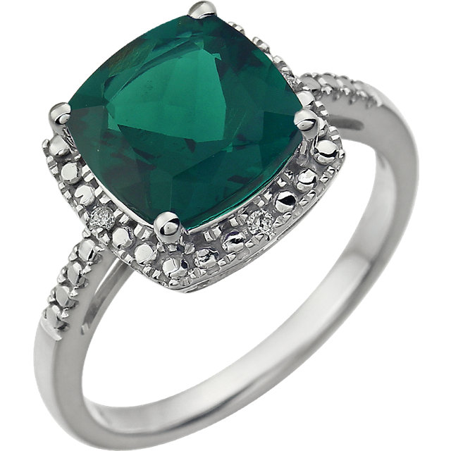 Easy Gift in 14 Karat White Gold Created Emerald & .03 Carat Total Weight Diamond Ring