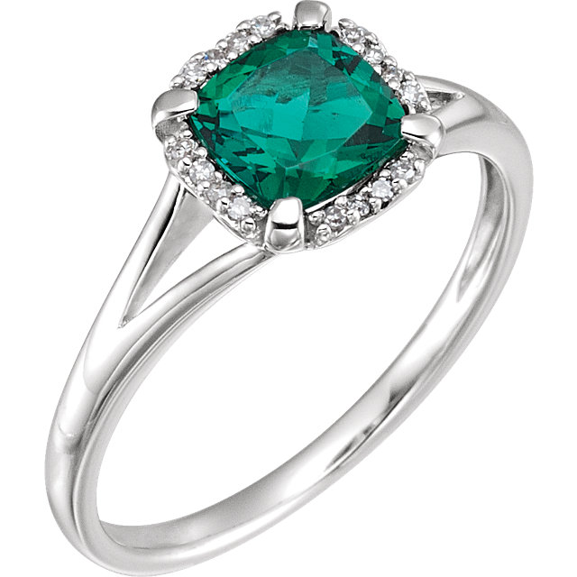 Great Buy in 14 Karat White Gold Created Emerald & .05 Carat Total Weight Diamond Ring