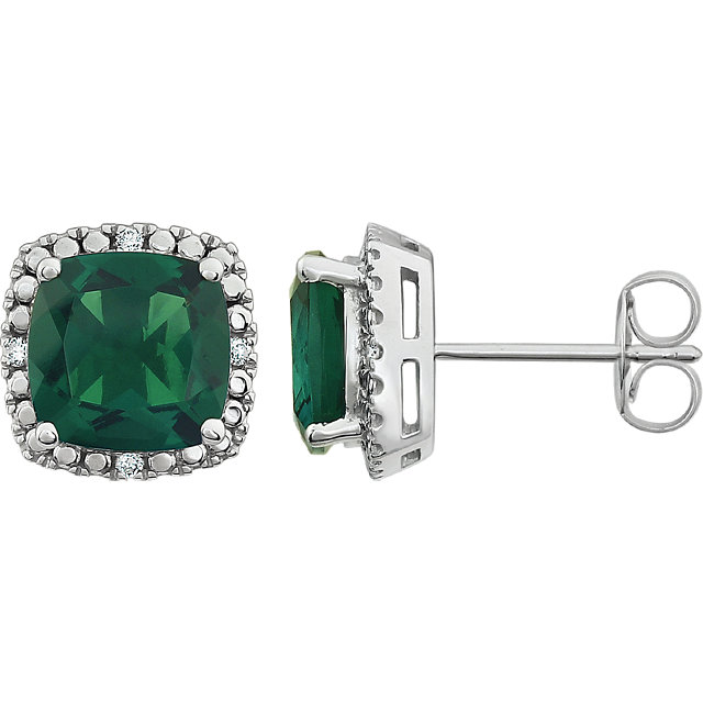 Jewelry Find 14 KT White Gold Created Emerald & .06 Carat TW Diamond Earrings