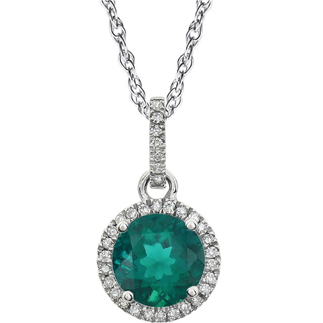 Appealing Jewelry in 14 Karat White Gold Created Emerald & 0.10 Carat Total Weight Diamond 18