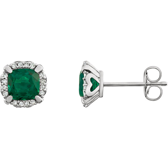 Surprise Her with  14 Karat White Gold Created Emerald & 0.10 Carat Total Weight Diamond Earrings