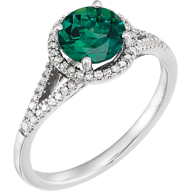 Genuine Chatham Created Emerald Ring in 14 Karat White Gold Created Emerald & 0.17 Carat Diamond Ring