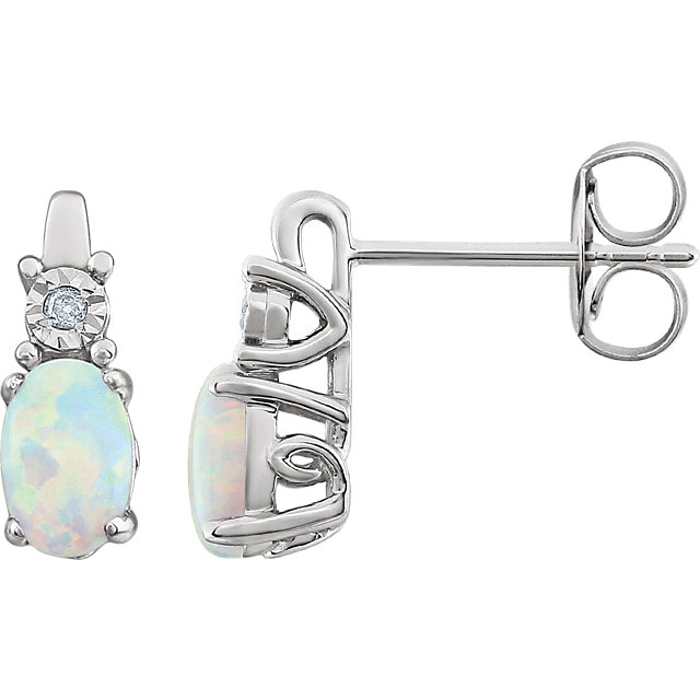 14 Karat White Gold Opal & .02 Carat Diamond Earrings