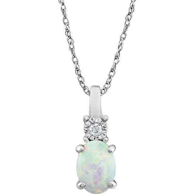 Beautiful 14 Karat White Gold Created Opal & .02 Carat Total Weight Diamond 18