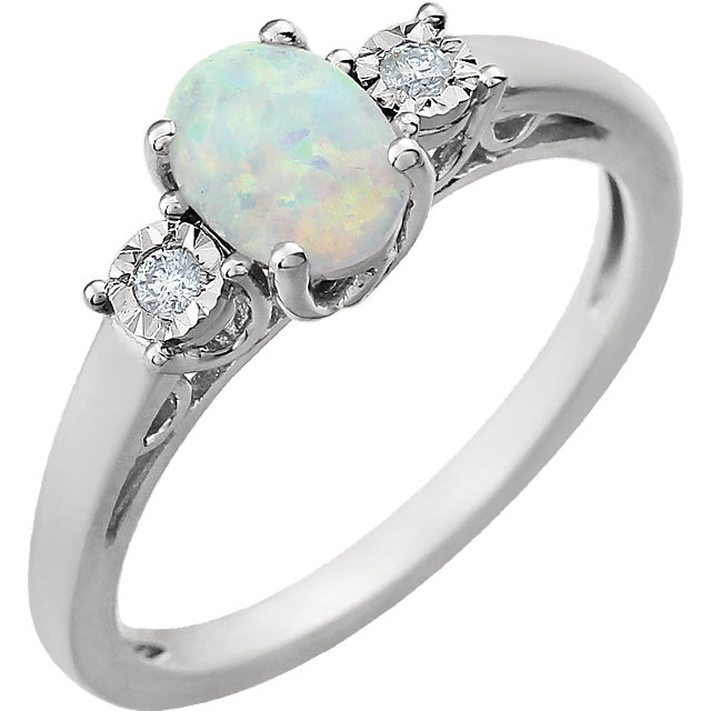 Great Gift in 14 Karat White Gold Created Opal & .04 Carat Total Weight Diamond Ring