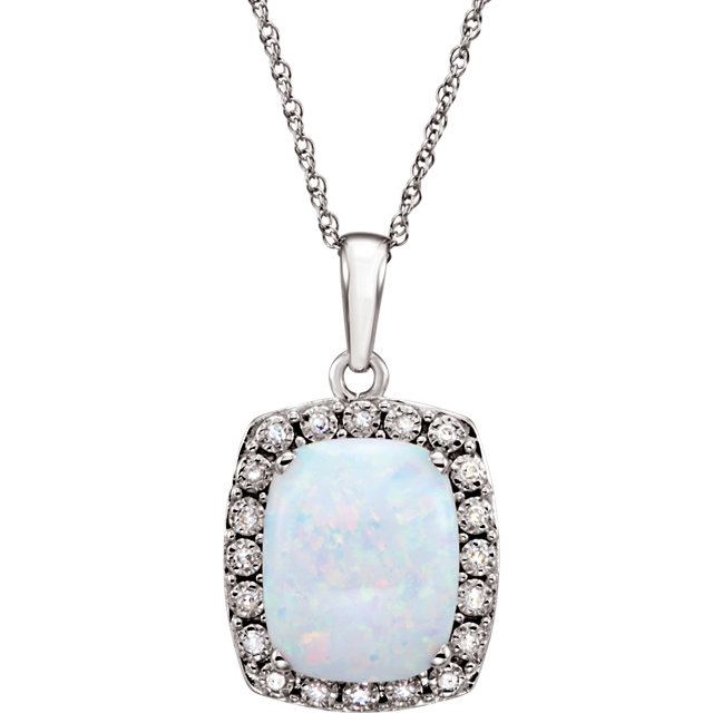 Must See 14 Karat White Gold Created Opal & .05 Carat Total Weight Diamond 18
