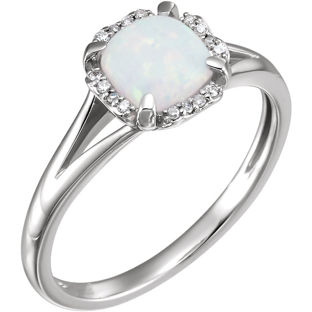 14 Karat White Gold Opal & .05 Carat Diamond Ring