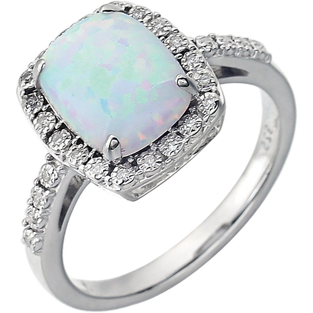 Alluring 14 Karat White Gold Created Cushion Opal & .07 Carat Total Weight Diamond Ring