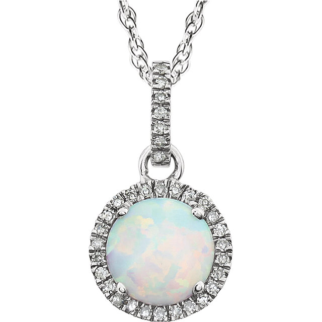 Fine Quality 14 Karat White Gold Created Opal & 0.10 Carat Total Weight Diamond 18