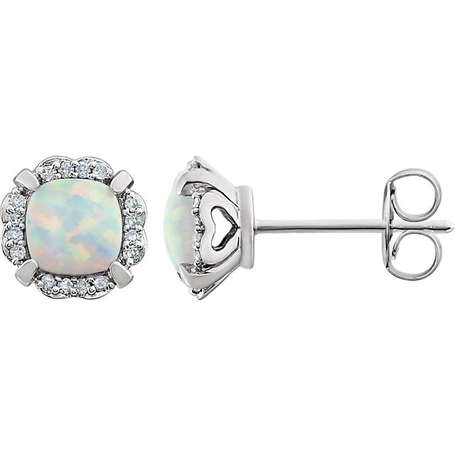Perfect Gift Idea in 14 Karat White Gold Created Opal & 0.10 Carat Total Weight Diamond Earrings