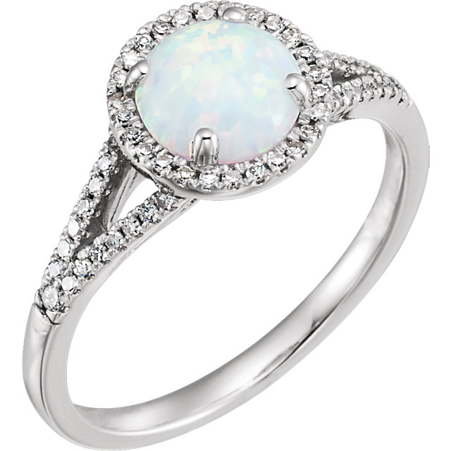 Contemporary 14 Karat White Gold Created Opal & 0.17 Carat Total Weight Diamond Ring
