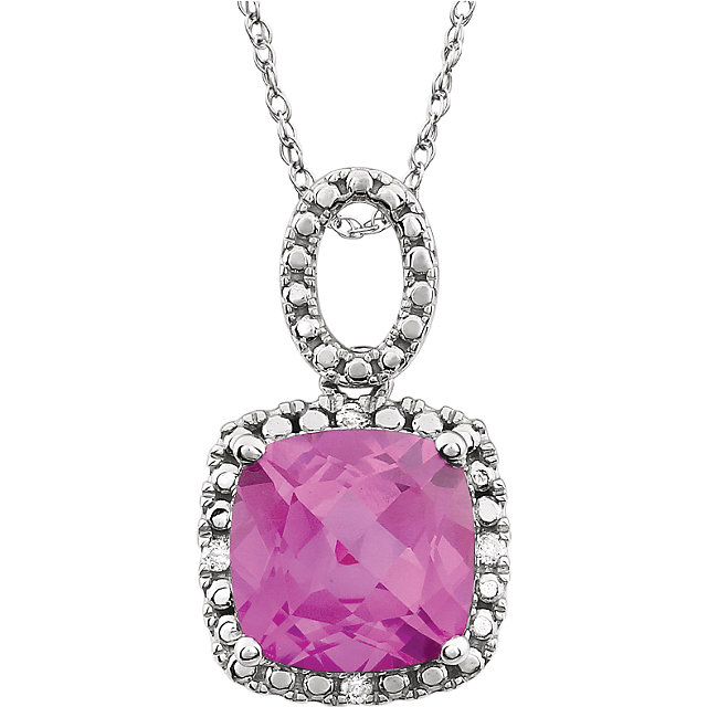 Eye Catchy 14 Karat White Gold Created Pink Sapphire & .03 Carat Total Weight Diamond 18