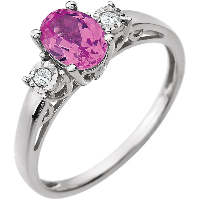 Genuine Chatham Created Sapphire Ring in 14 Karat White Gold Created Pink Sapphire & .04 Carat Diamond Ring