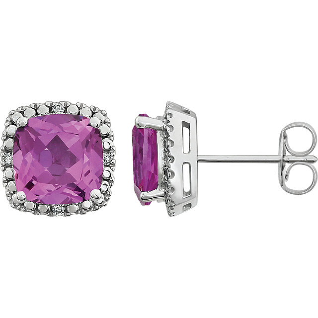 Great Gift in 14 Karat White Gold Created Pink Sapphire & .06 Carat Total Weight Diamond Earrings