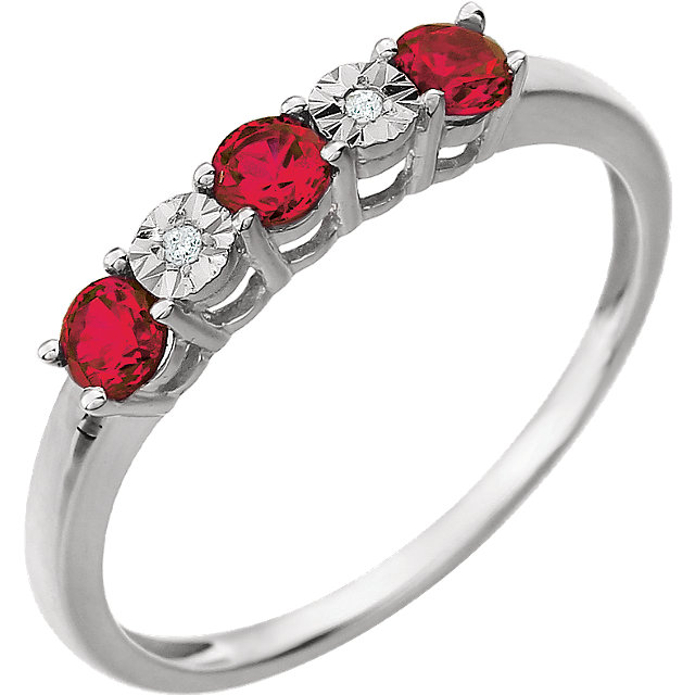 Must See 14 Karat White Gold Created Ruby & .01 Carat Total Weight Diamond Ring