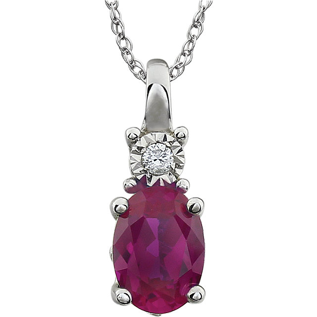 Stunning 14 Karat White Gold Created Ruby & .02 Carat Total Weight Diamond 18