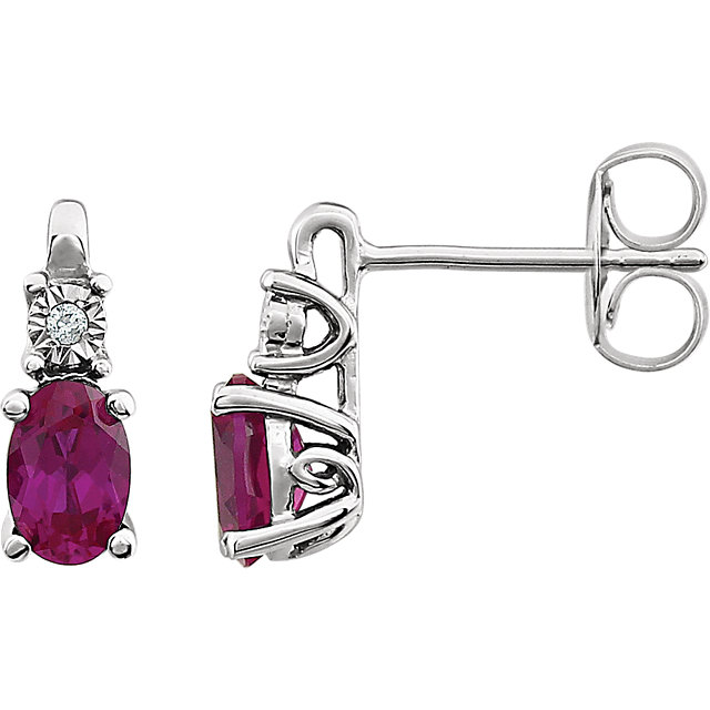 Chic 14 Karat White Gold Created Ruby & .02 Carat Total Weight Diamond Accented Earrings