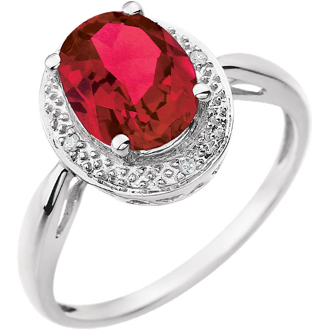 Perfect Gift Idea in 14 Karat White Gold Created Ruby & .02 Carat Total Weight Diamond Ring