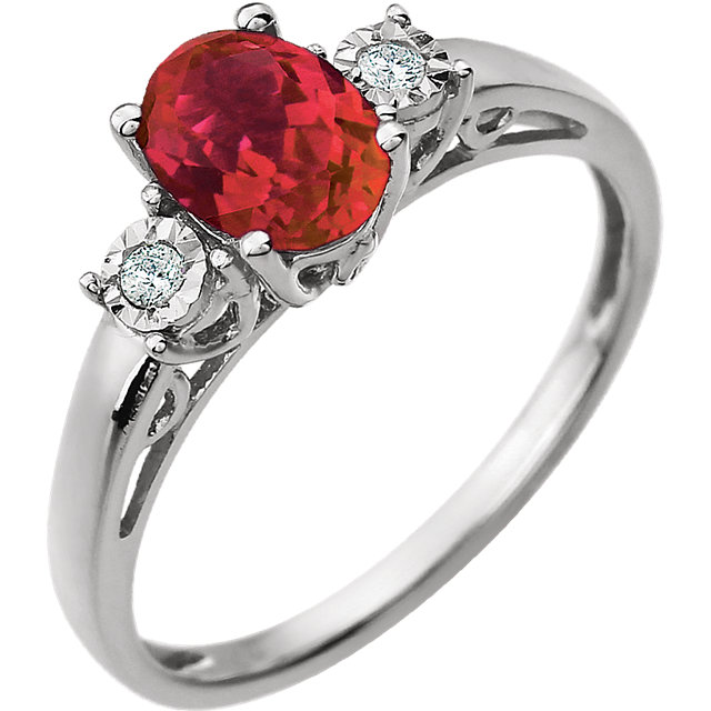 Chatham Created Ruby Ring in 14 Karat White Gold Created Ruby & .04 Carat Diamond Ring