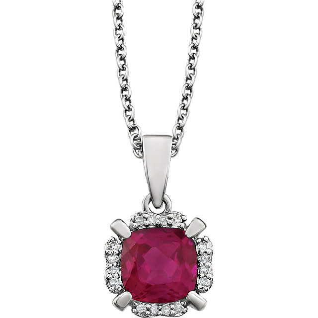 Contemporary 14 Karat White Gold Created Ruby & .05 Carat Total Weight Diamond 18