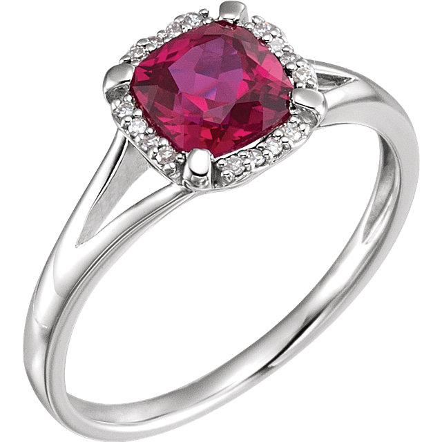 Stunning 14 Karat White Gold Created Ruby & .05 Carat Total Weight Diamond Ring